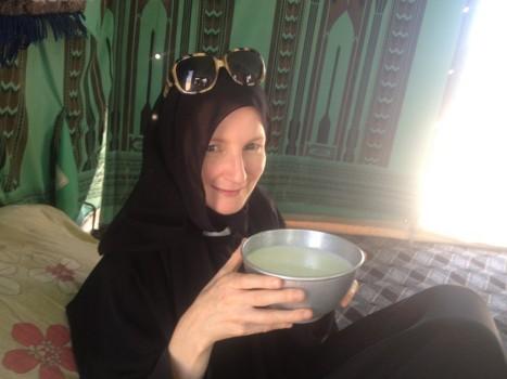 American born Elizabeth Kendall drinking camel milkcorona-dr-elizabeth-kendall
