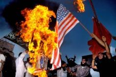 Muslim Brotherhood Demonstrators Burn United States Flag, Amman, Jordan, September 1990