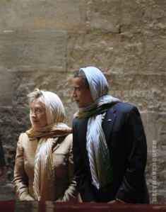 President Obama and Secretary of State Hillary Clinton tour the Sultan Hassan Mosque in Cairo, Egypt, in 2009.