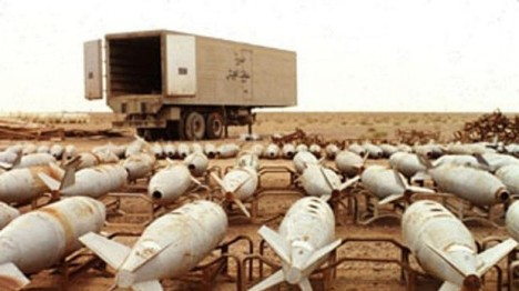 Chemical warfare agent filled aerial bombs await destruction at Muthanna complex Iraq in an undated file photo. (Photo: Reuters)