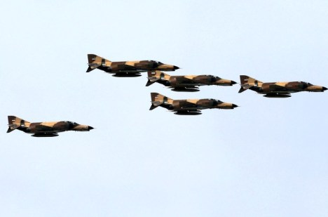 Iranian F-4 fighter jets fly during a parade in Tehran in April. Photo: Getty Images
