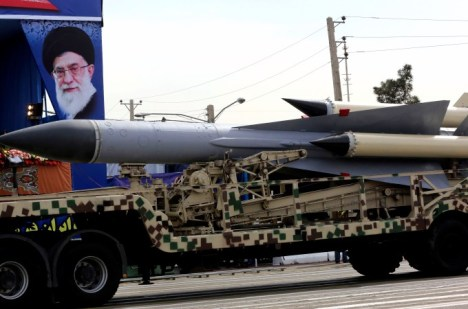 A missile is paraded through Tehran, Iran during the country's National Army Day in April. Photo: AP