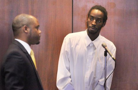 Andre Fields pleads not guilty in the murder of Cheyanne Bond at the Essex County Court House in Newark, N.J., on Wednesday, August 6, 2014. (Frances Micklow/The Star-Ledger)