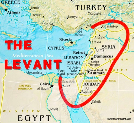 What makes up the near exact center of the Muslim Levant? Israel.