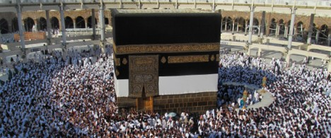 Muslim pilgrims circle counterclockwise with their hearts tilted toward the Kaaba, the cube-shaped structure that Muslims around the world face in prayer five times a day, in the Grand Mosque in the Muslim holy city of Mecca, Saudi Arabia, Sunday, Oct. 13, 2013. | ASSOCIATED PRESS