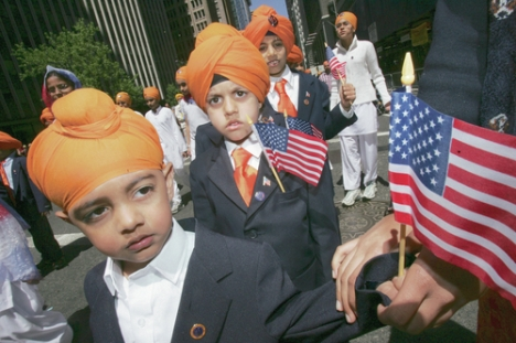 American patriotic Sikhs, notice the turbans are different from Muslims in a peaked style.